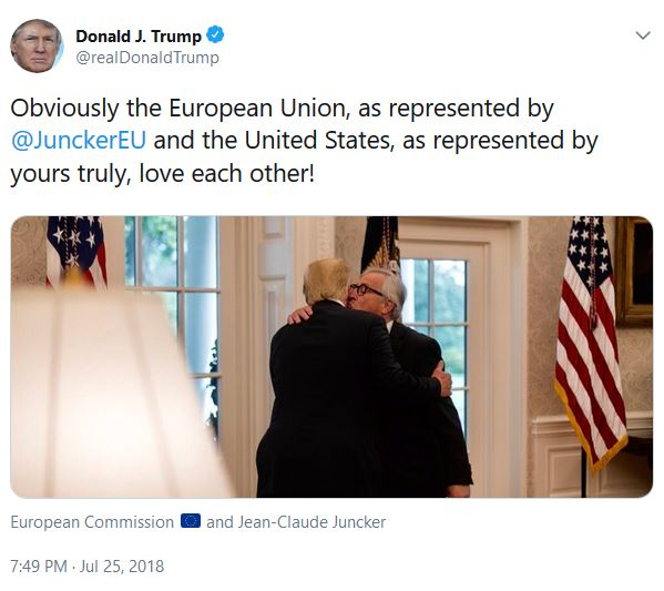 Junker kisses Trump