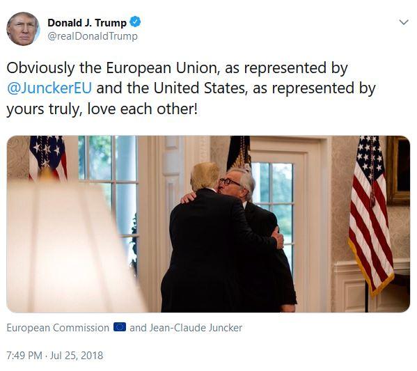 Junker kisses Trump