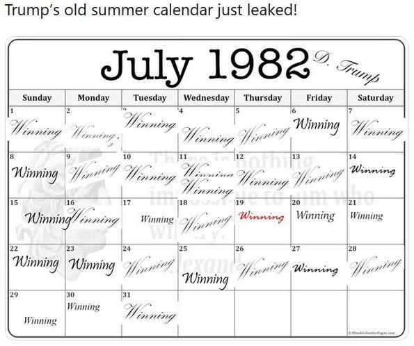 Trump summer calendar