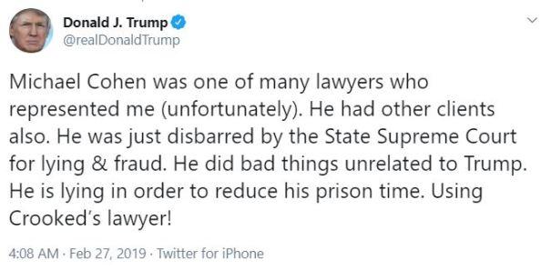 cohen tweet from trump