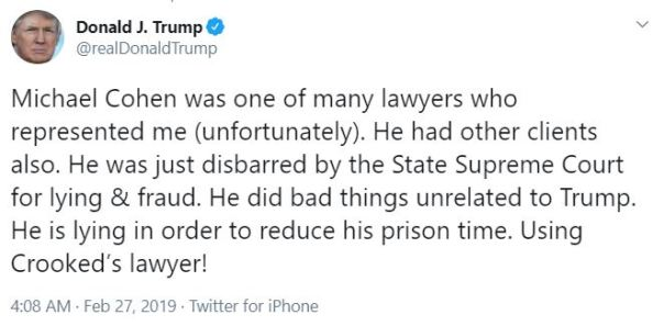 cohen tweet from trump