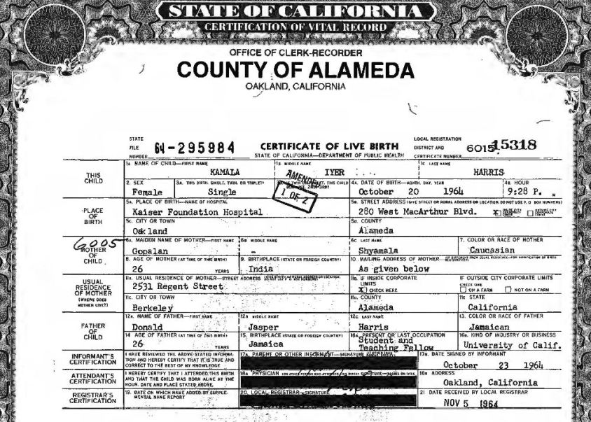 kamala harris birth certificate