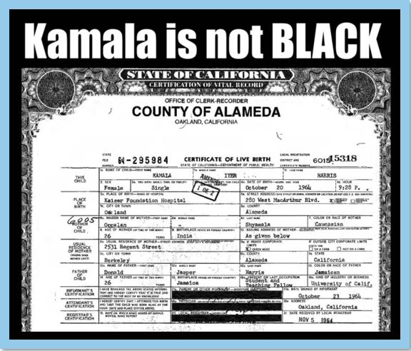 kamala not black