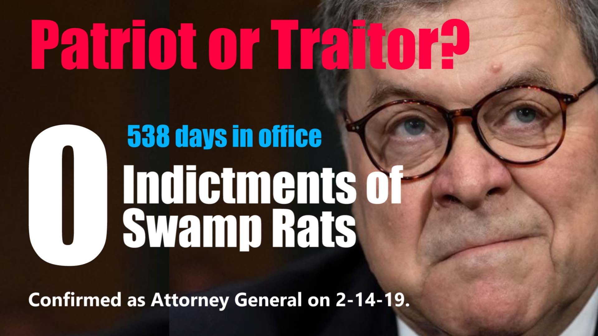 Bill Barr 538 days no indictments